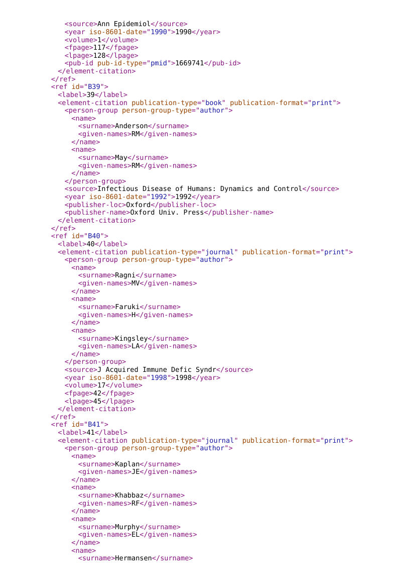 Example of JATS 1.1 XML format