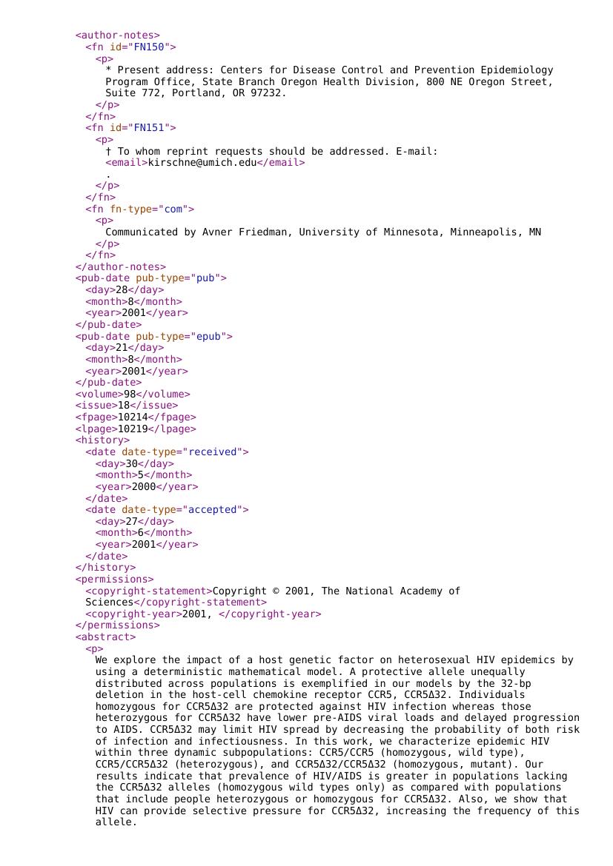 Example of MEDLINE/PUBMED XML format