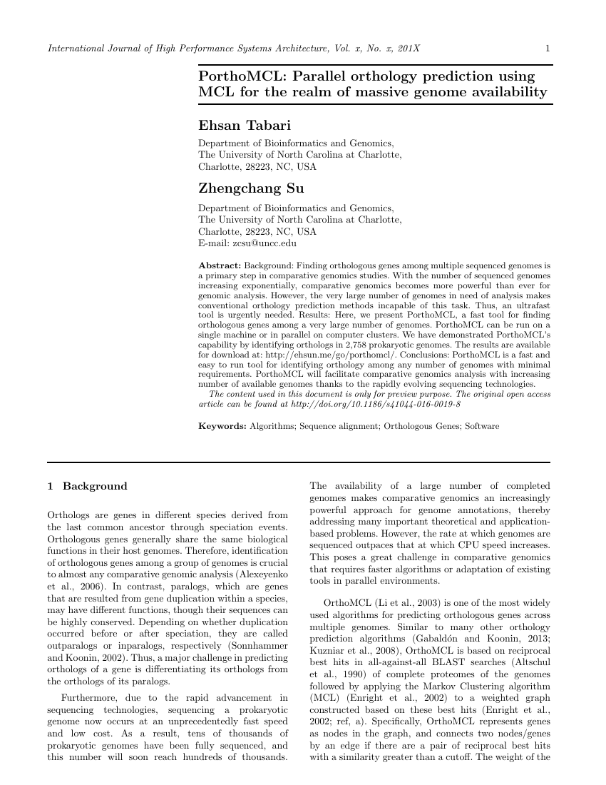 Example of International Journal of High Performance Systems Architecture format