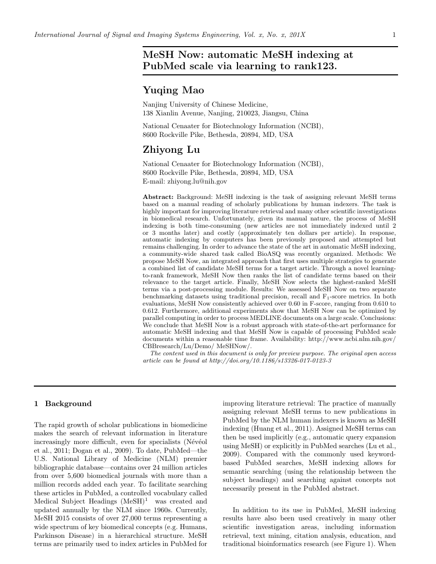 Example of International Journal of Signal and Imaging Systems Engineering format