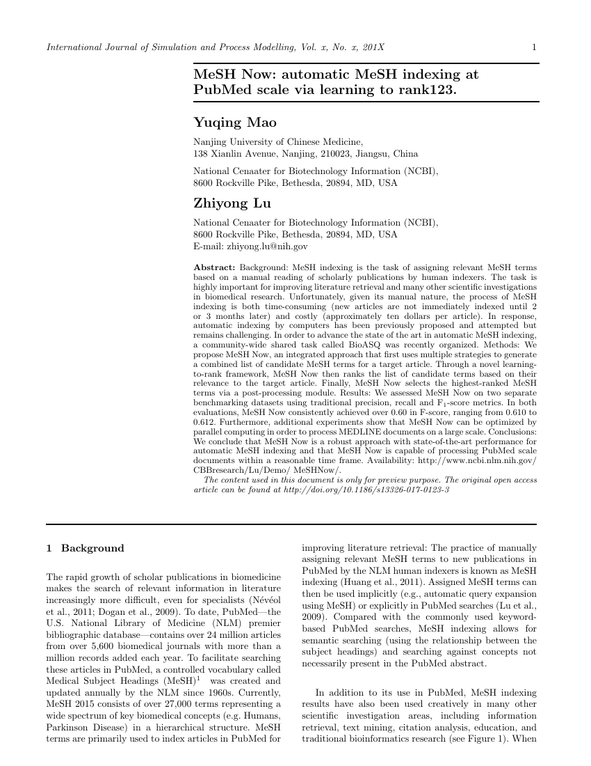 Example of International Journal of Simulation and Process Modelling format