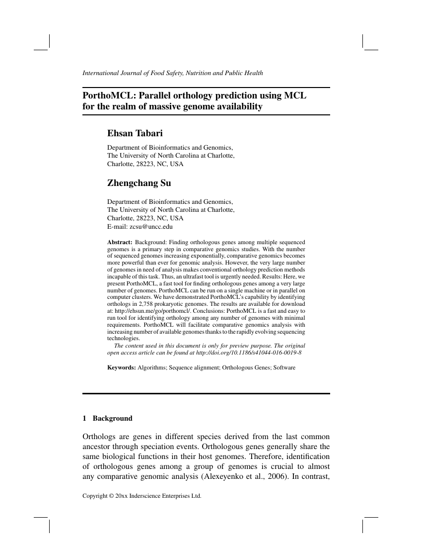 Example of International Journal of Food Safety, Nutrition and Public Health format