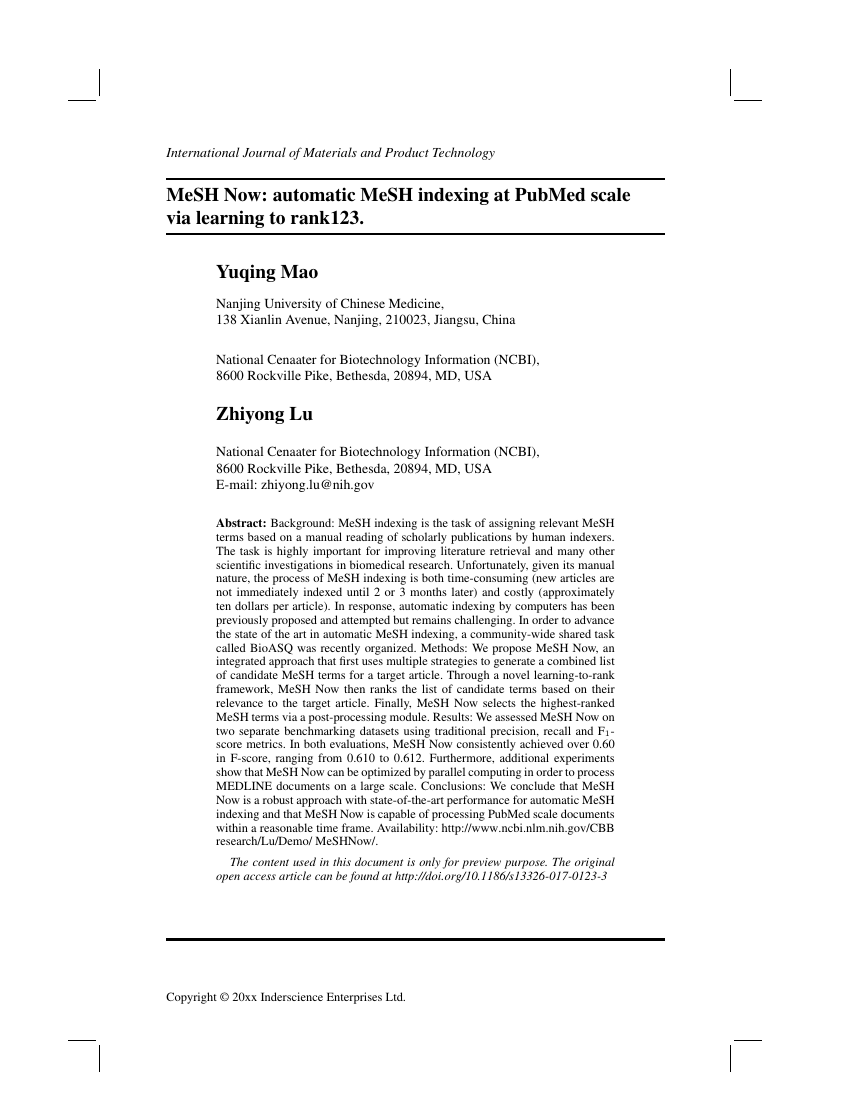Example of International Journal of Materials and Product Technology format