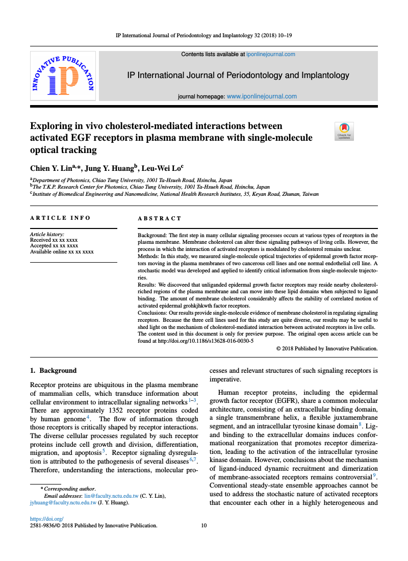 Example of IP International Journal of Periodontology and Implantology format