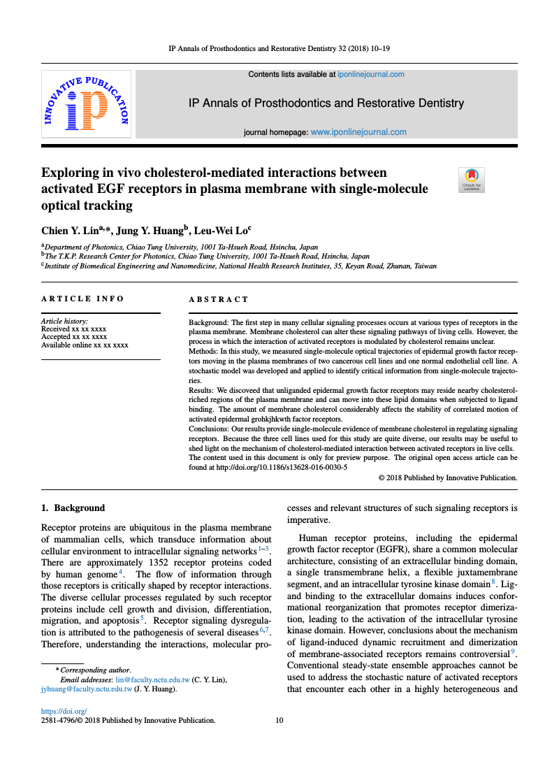 Example of IP Annals of Prosthodontics and Restorative Dentistry format