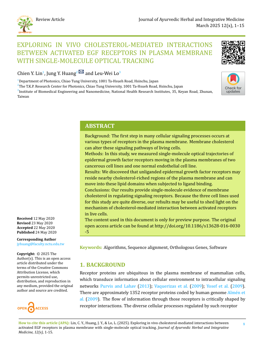 Example of Journal of Ayurvedic Herbal and Integrative Medicine format