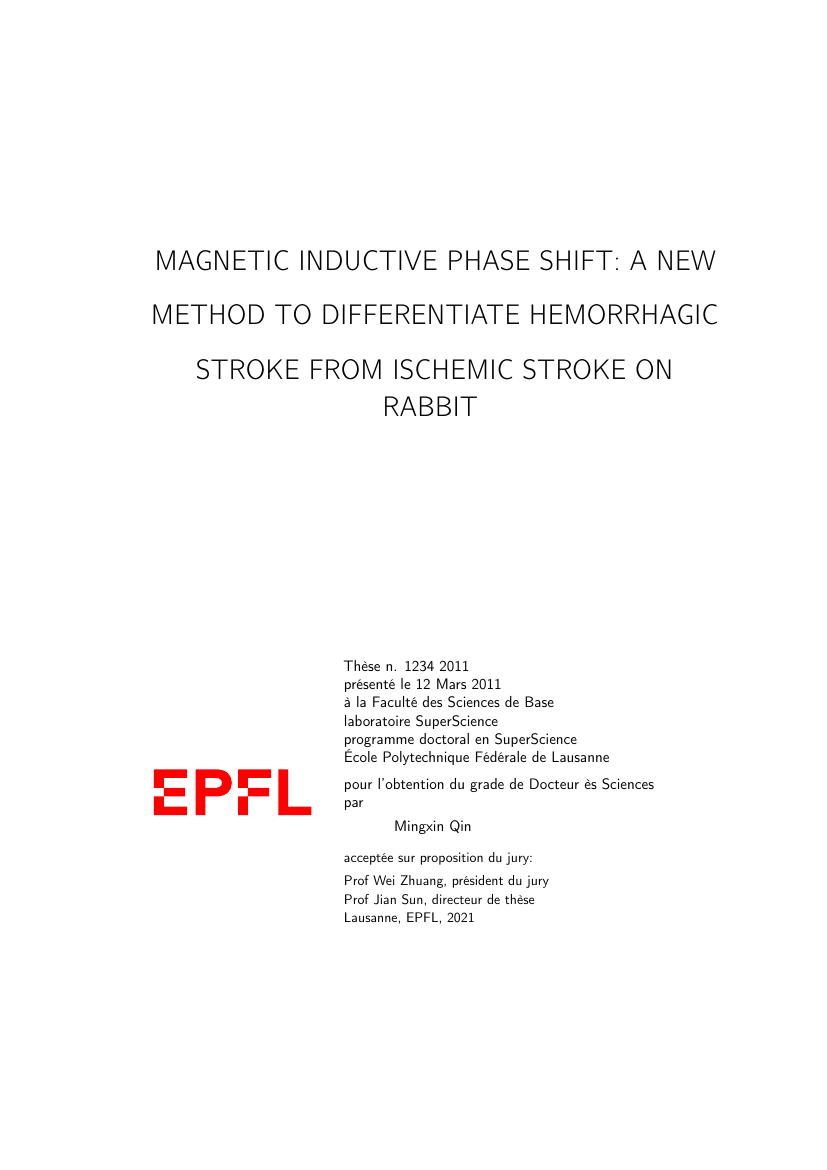 Example of EPFL PhD Thesis format