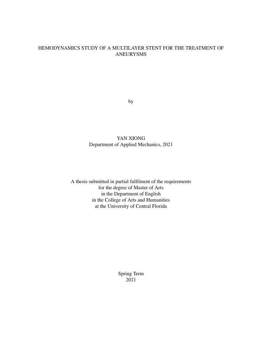Example of UCF Thesis and Dissertation format