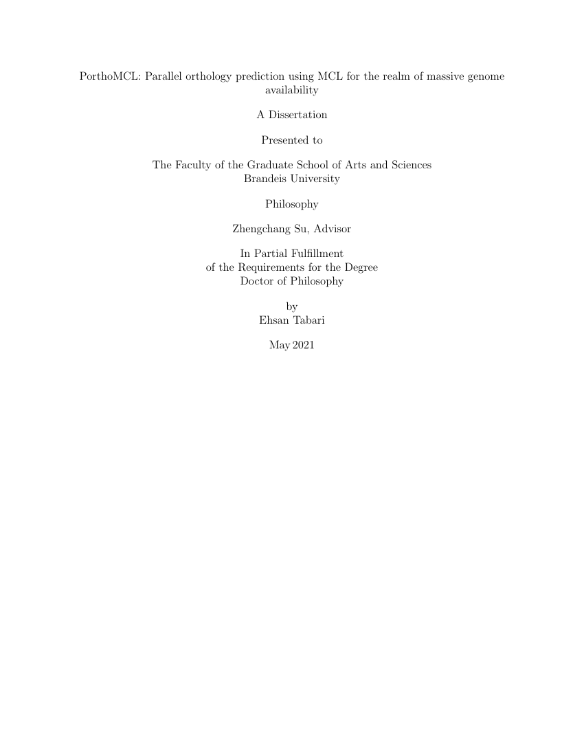 Example of Brandeis Dissertation Template format