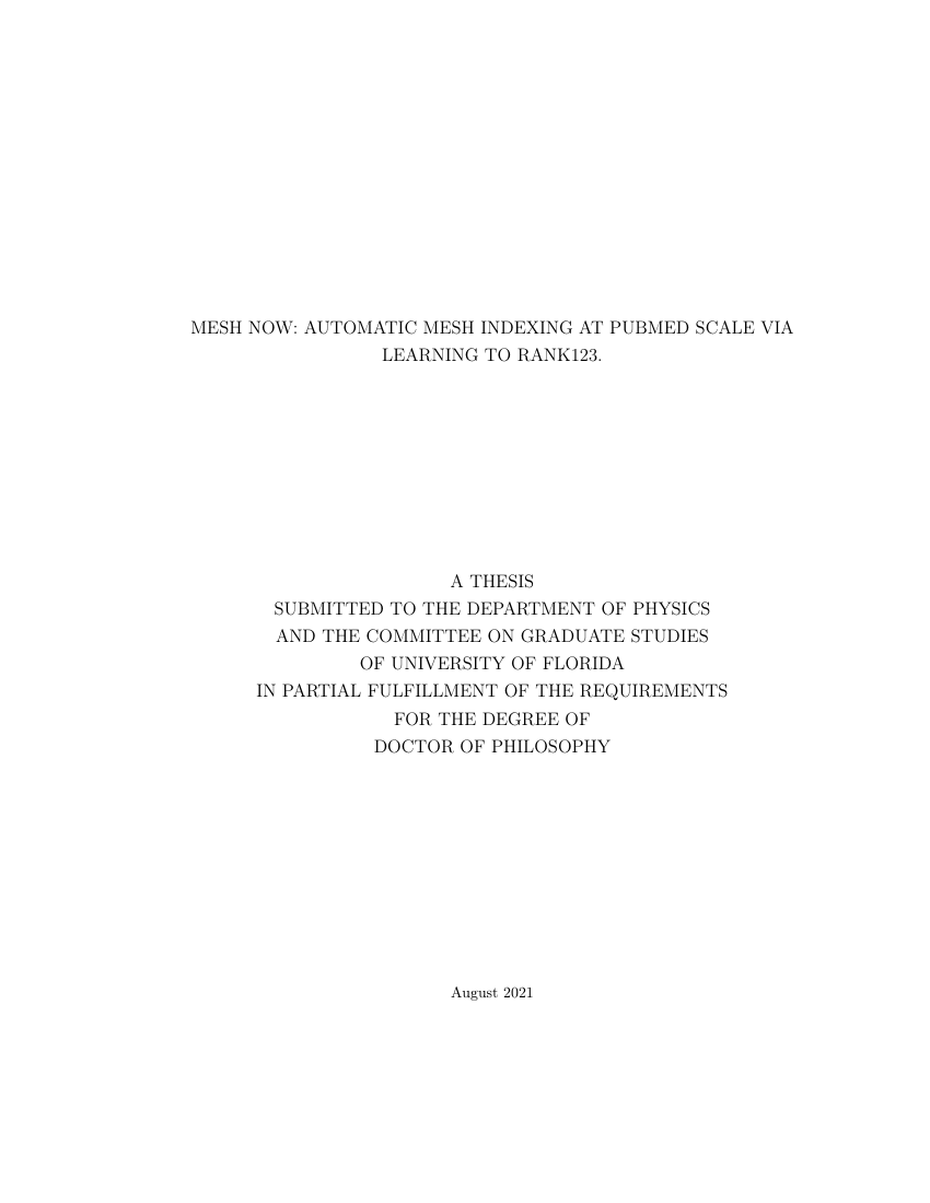 Example of Davis and Elkins Thesis format