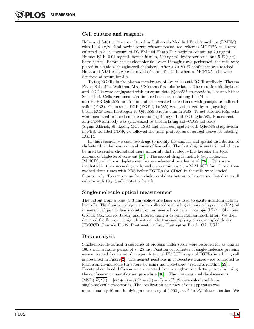 Example of Template for PLOS articles format