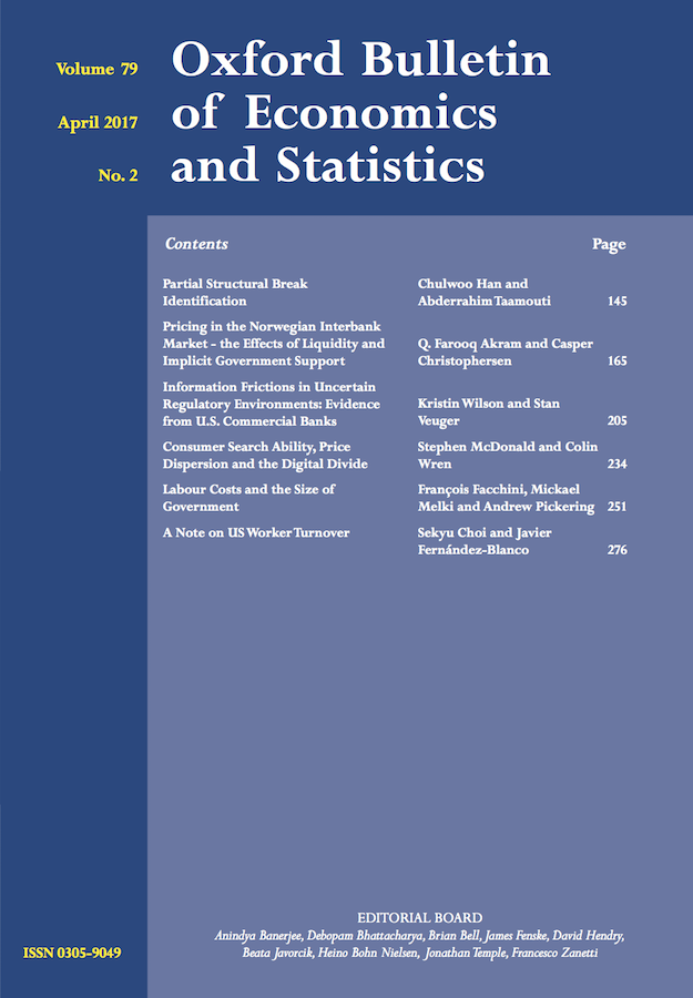 Oxford Bulletin of Economics and Statistics template (Wiley)