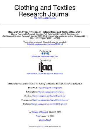Clothing and Textiles Research Journal template (SAGE)