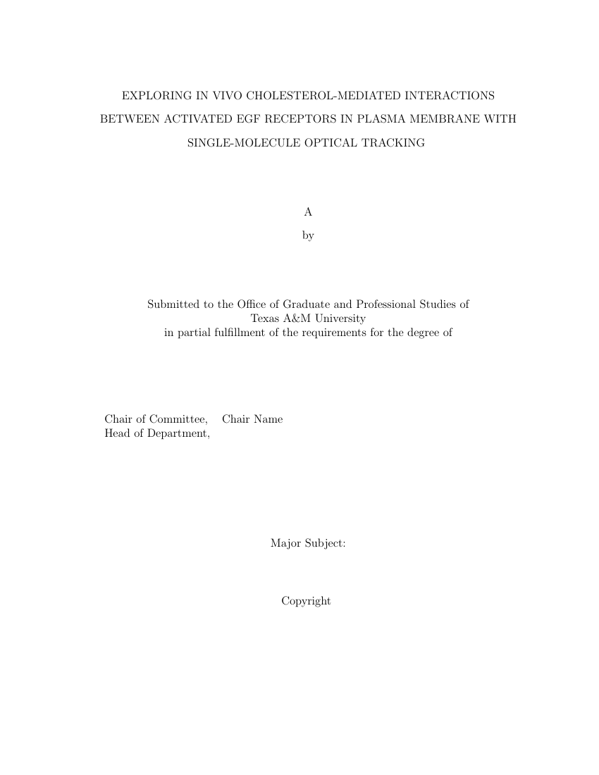 Example of Template for Texas A and M Thesis/Dissertation format