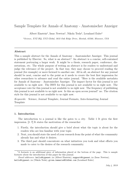 Elsevier Annals Of Anatomy Anatomischer Anzeiger Template