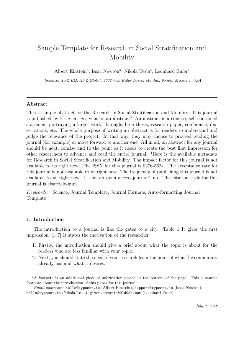 example of research in social stratification and mobility format