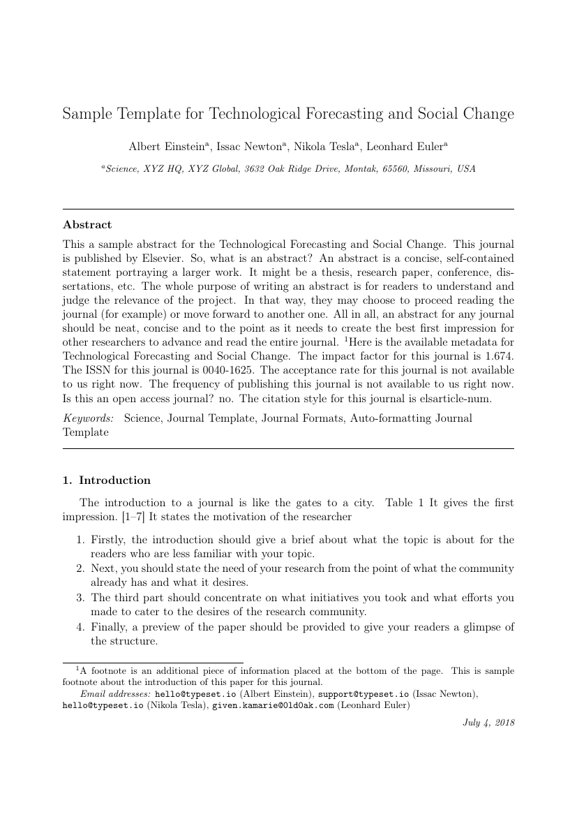 Elsevier Technological Forecasting And Social Change Template