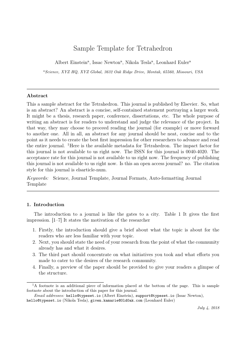 Elsevier - Tetrahedron Template