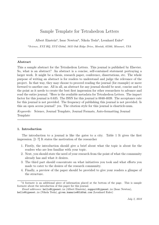 Elsevier - Tetrahedron Letters Template