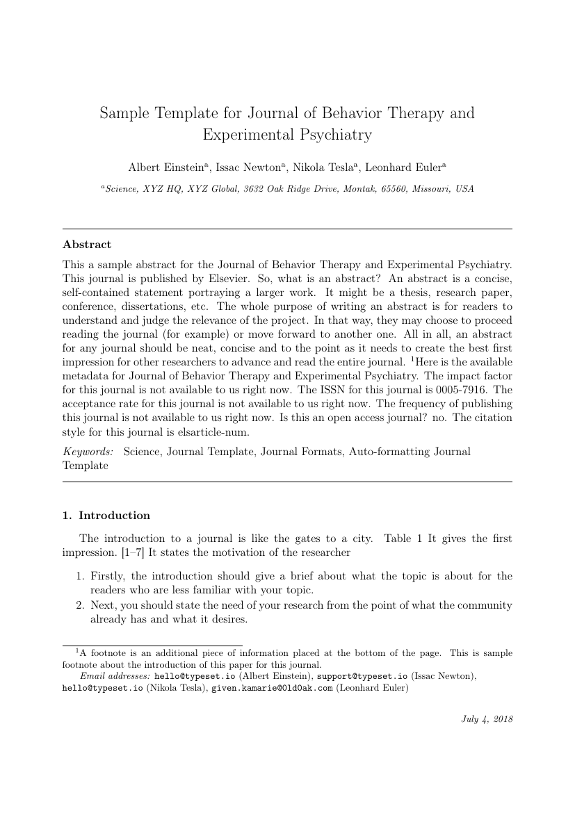 Elsevier Journal Of Behavior Therapy And Experimental Psychiatry